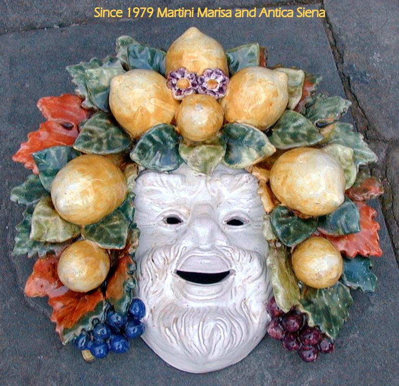 (English) Mask with lemons and grapes inc.13.5x12.5